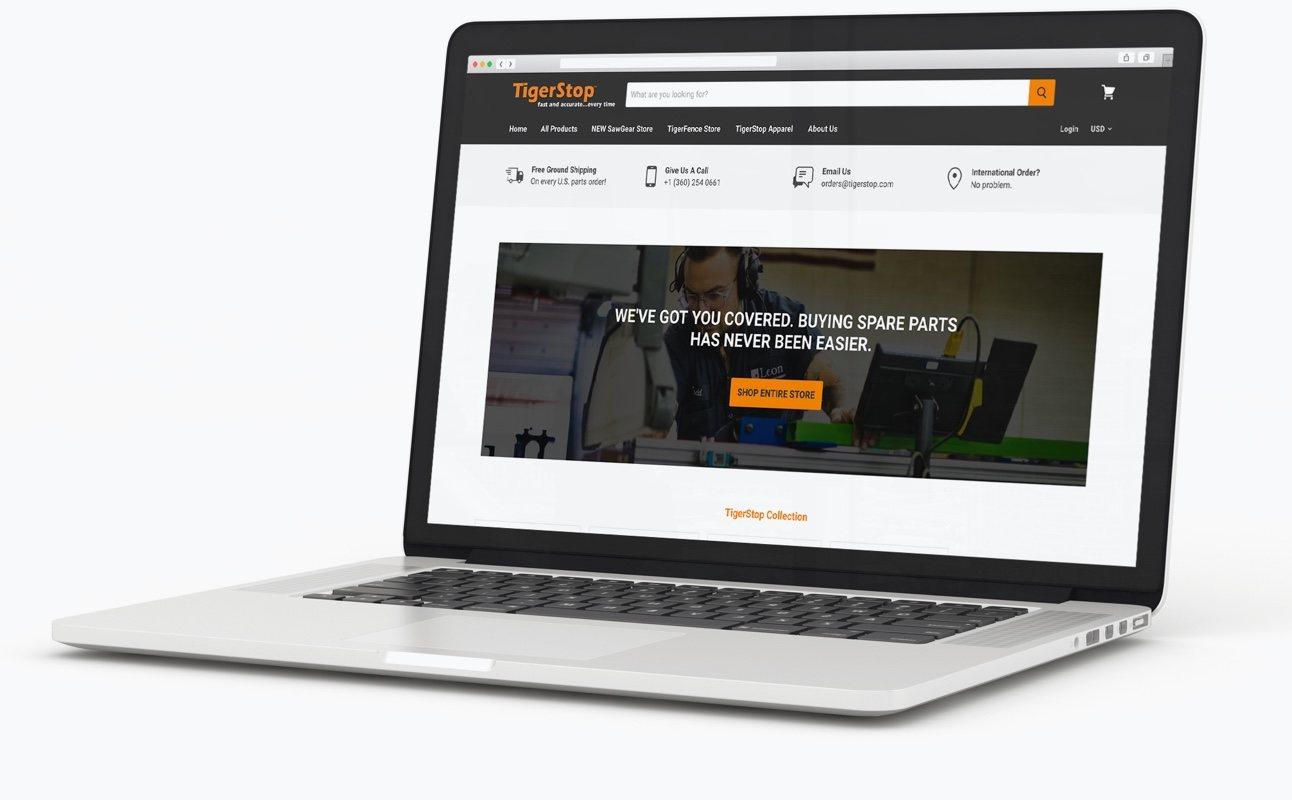 TigerStop Website - Laptop
